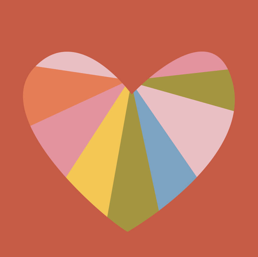 a valentine heart divided into different colors