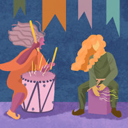 Person in robes violently pounds a drum; beside her, person with pants and a long shirt gently plays the cajon.