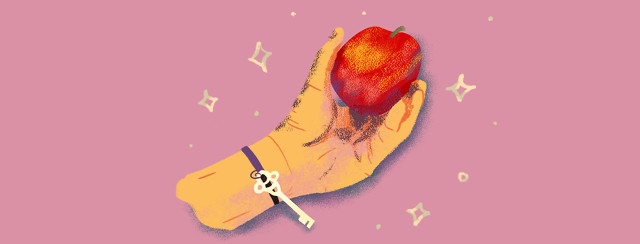 Hand gripping an apple; a key dangles from the wrist.