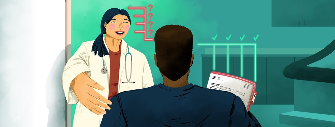 a doctor welcomes a heart failure patient into her office. The patient keeps track of a checklist of questions.
