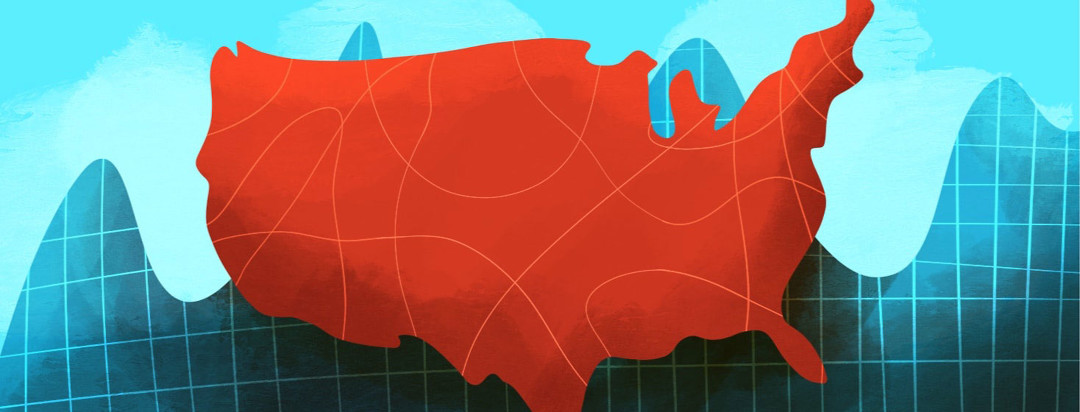 an image of the united states with a graph behind it