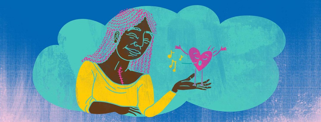 A woman with an open heart surgical scar holds a cartoon singing heart in her hand admiring it
