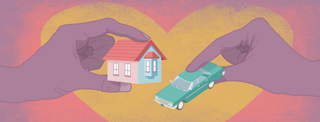hands holding a toy-sized house and car surrounded by a heart