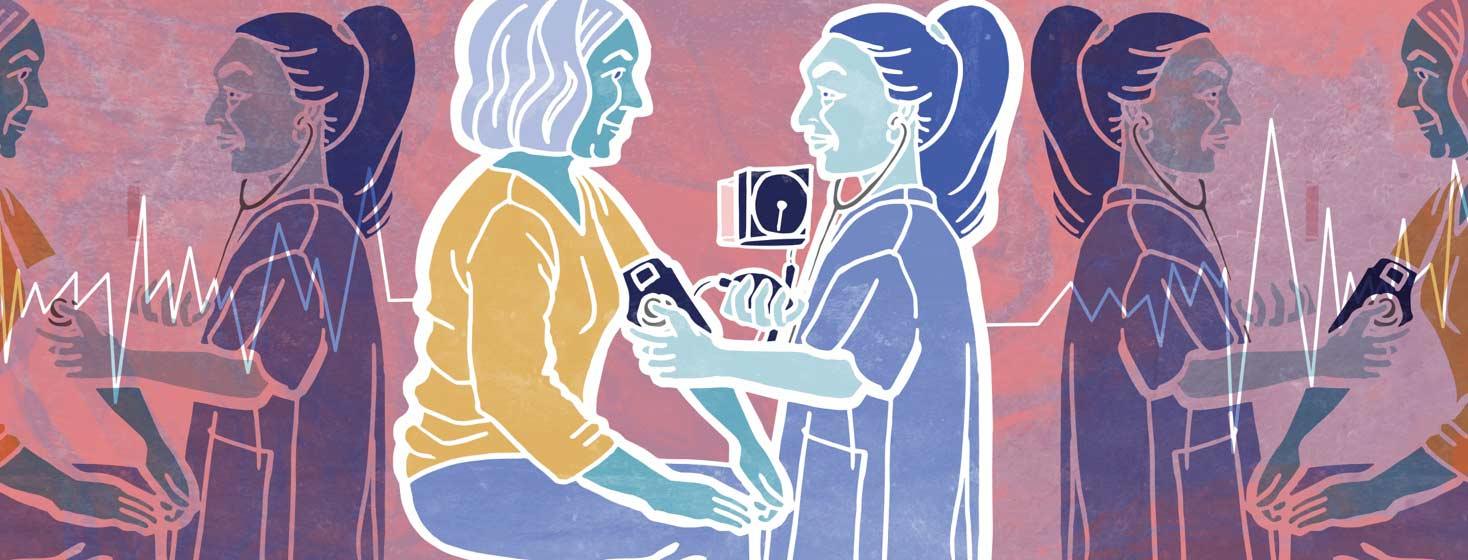 a nurse checks a female heart failure patient's blood pressure
