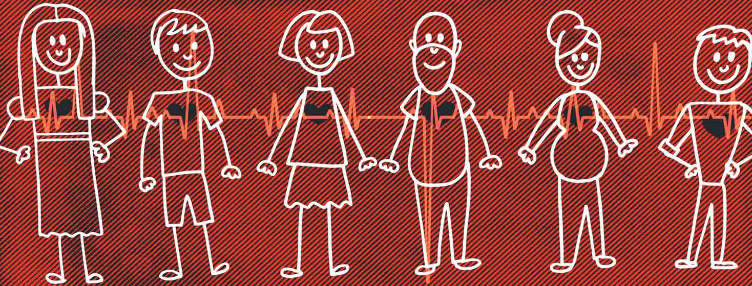 a stick figure family with brugada syndrome is united by an EKG line running through them all