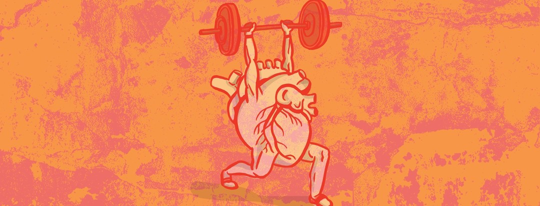 an anatomical heart lifts a heavy barbell over its head with strong arms and legs