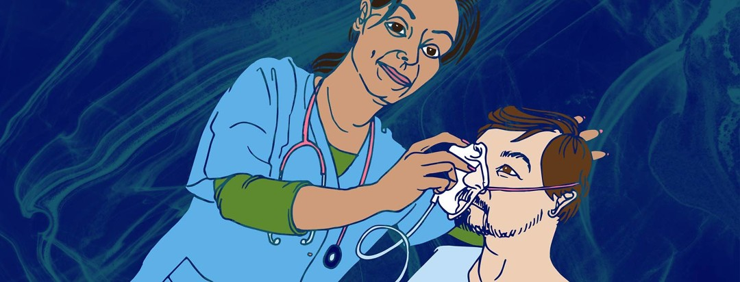 a respiratory therapist fits an oxygen mask to a heart failure patient's face