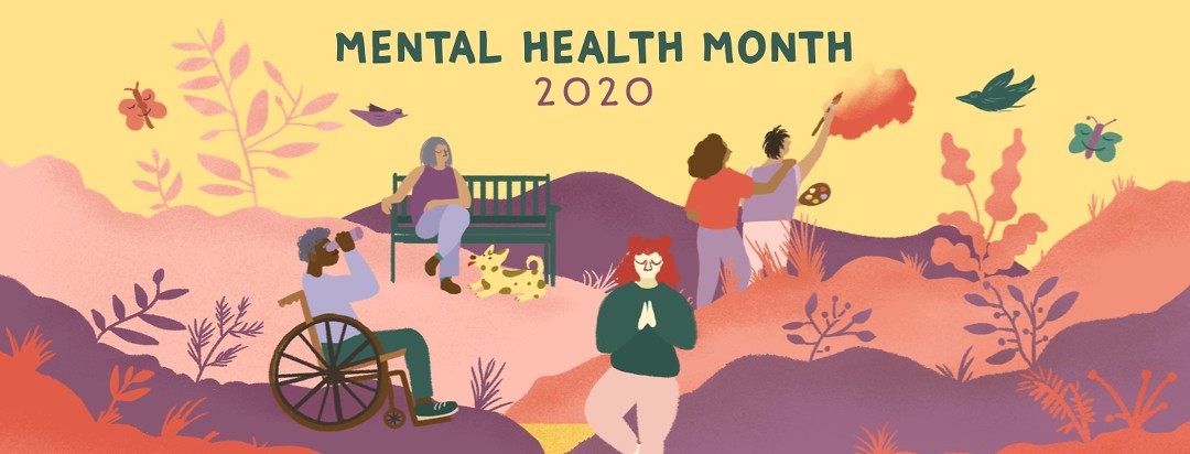 """Several people do relaxing activities in a beautiful park, such as yoga, painting, and birdwatching. Above them reads """"Mental Health Month 2020"""""""