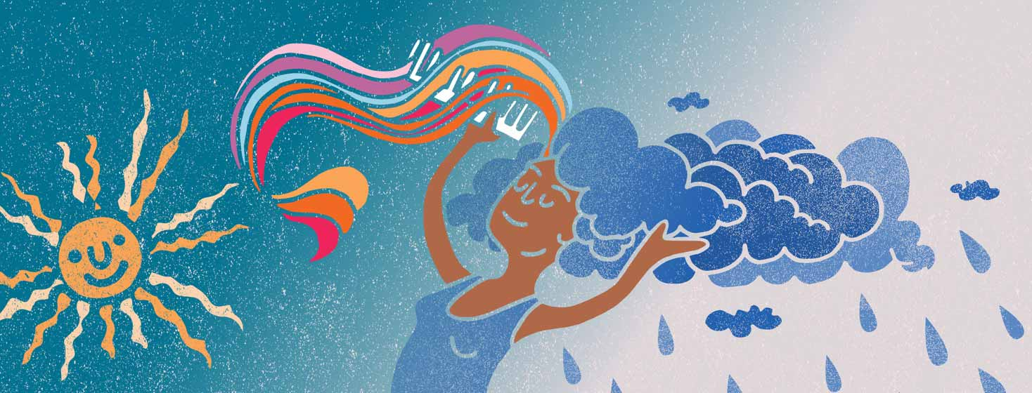a woman combs the clouds out of her hair and produces a rainbow