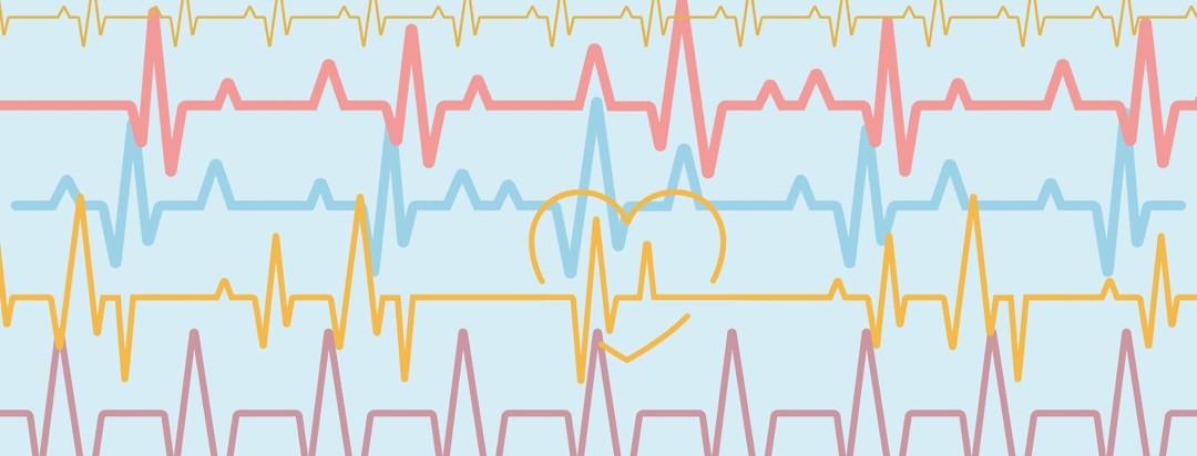 EKG lines interspersed with hearts