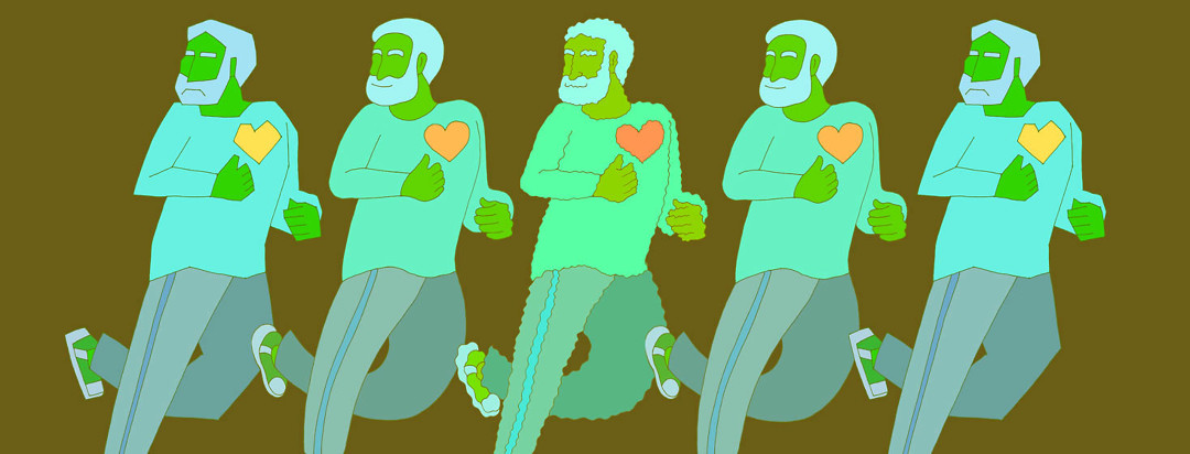 a man with heart failure running depicted 5 times, noticing the benefits of exercising