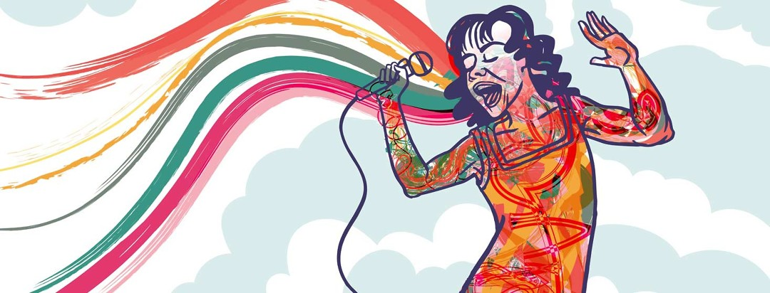 A woman with heart failure, filled with colors, singing out a rainbow