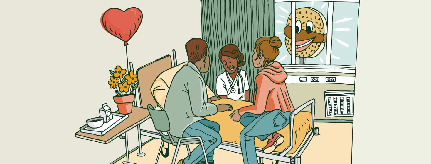 two parents and a nurse sit around a heart failure patient in a hospital bed while a fast-food sign glows outside the window