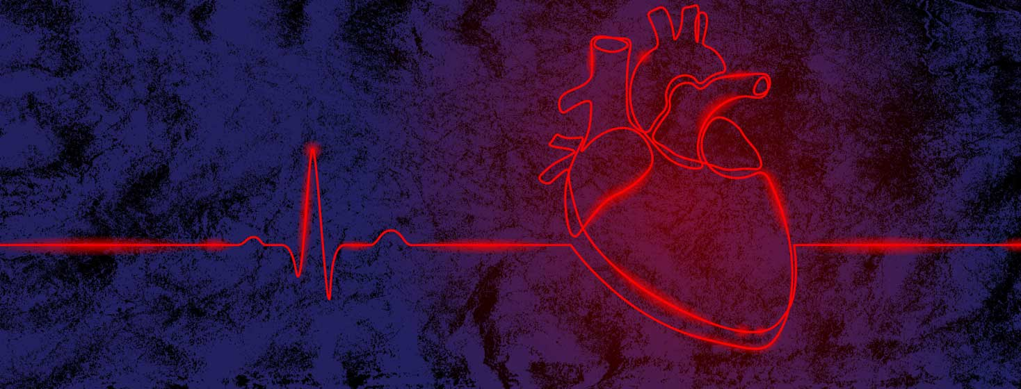a single glowing line depicts an EKG and then an anatomical heart