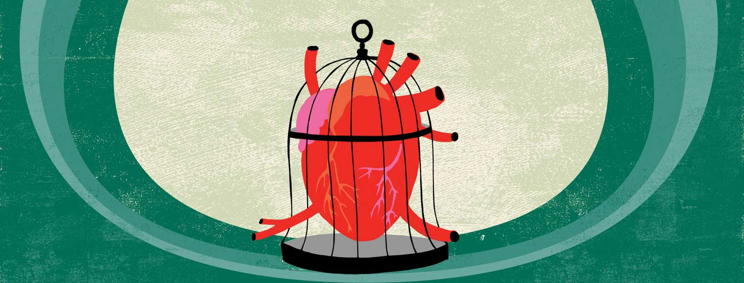 An anatomical heart stuck in a birdcage that is too small.