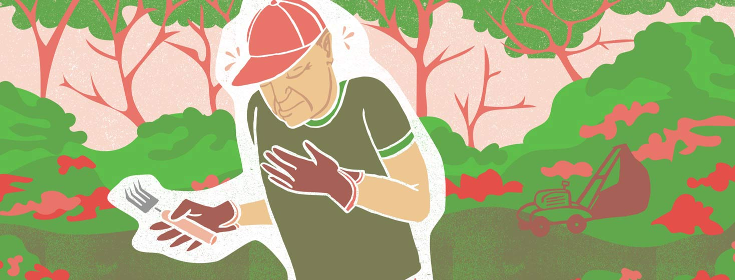 a man with heart failure clutches his chest while he works in the garden