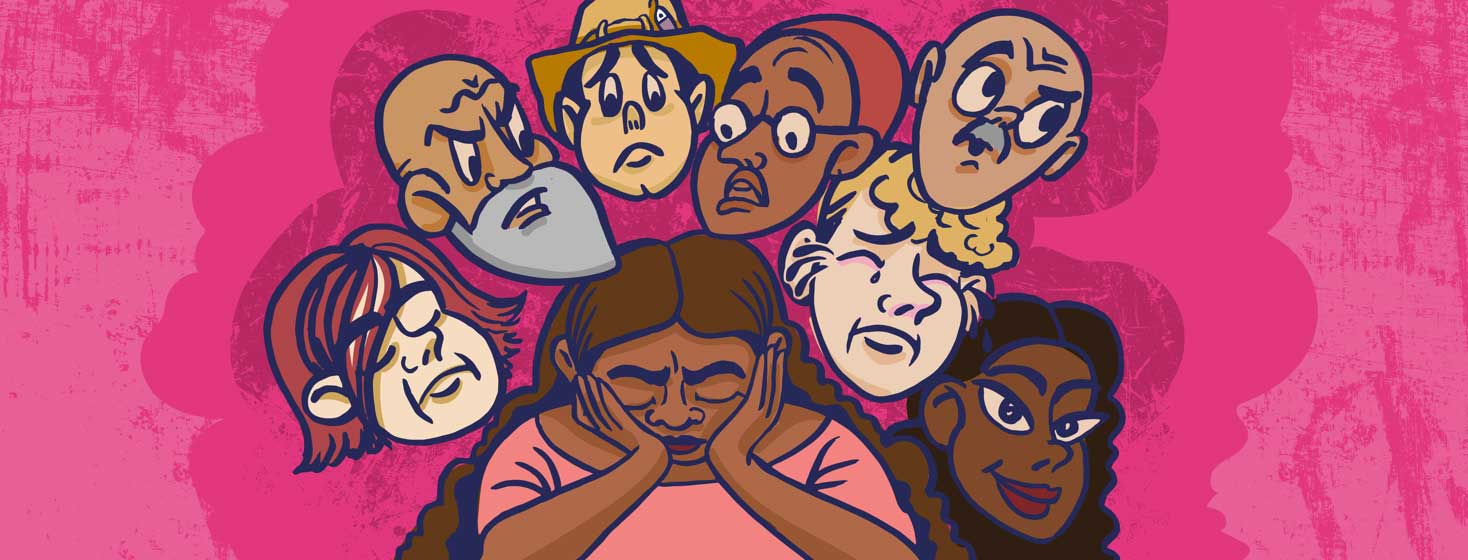 a woman with heart failure with her head in her hands is surrounded by people's faces experiencing a wide range of emotions