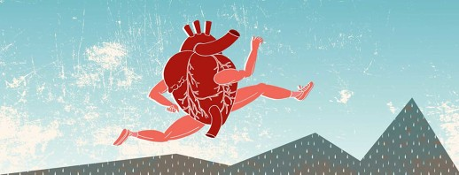 an anatomical heart with muscular arms and legs leaps over mountains that get higher as they run