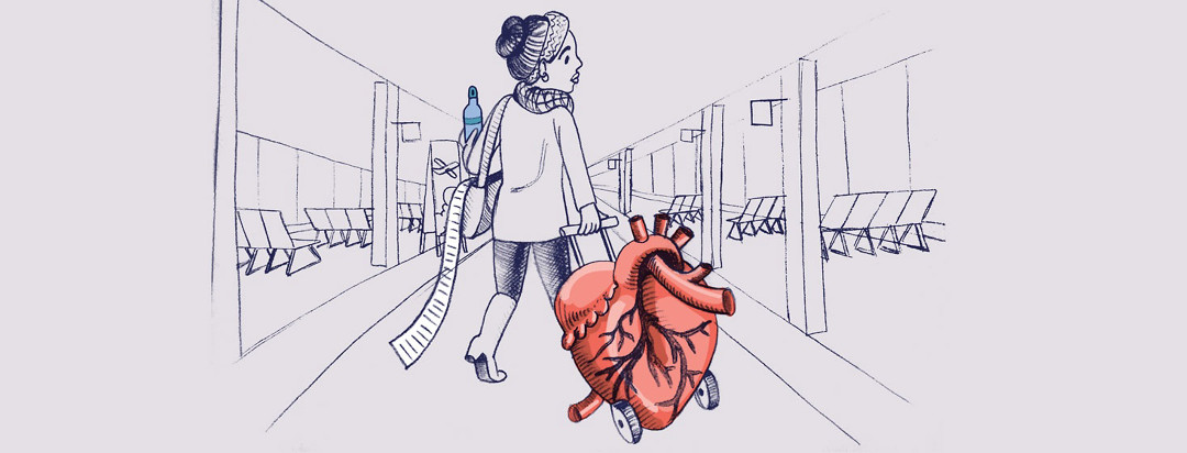 a woman drags a giant anatomical heart on wheels through an airport. She carries a water bottle and an enormous list is falling out of her purse