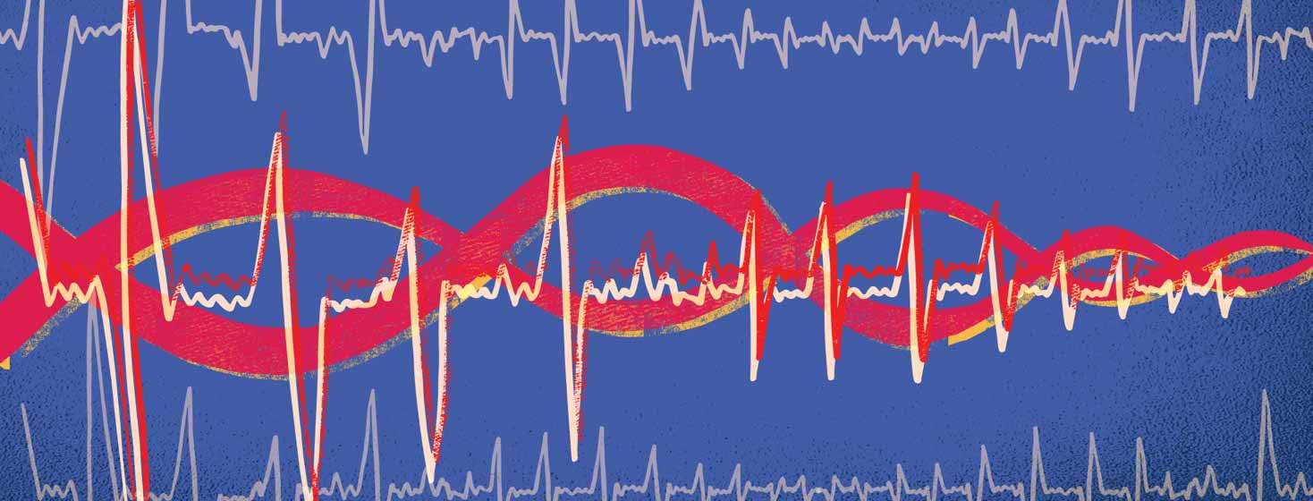 DNA strand combined with an EKG line
