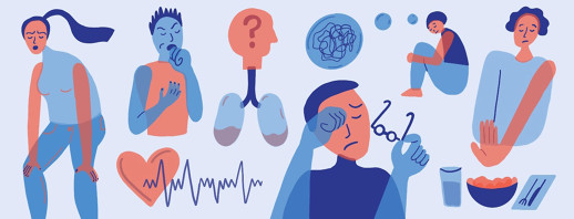 Different people experiencing symptoms of heart failure. Including shortness of breath, dry cough, confusion, fluid in lungs, irregular heartbeat, fatigue and anxiety.