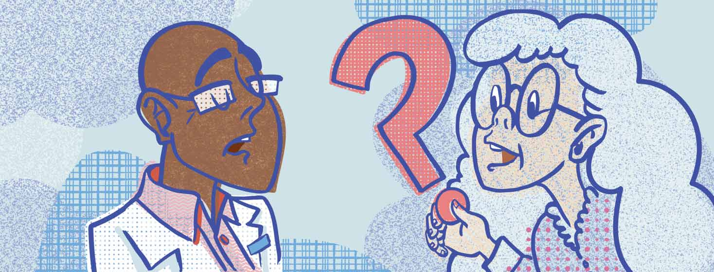 a woman with heart failure hands a giant question mark to her doctor