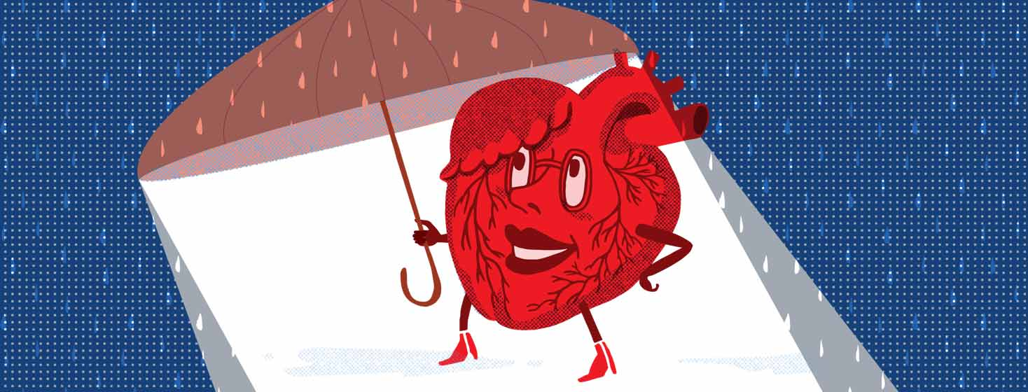 a personified anatomical heart carries an umbrella to protect herself from the rain