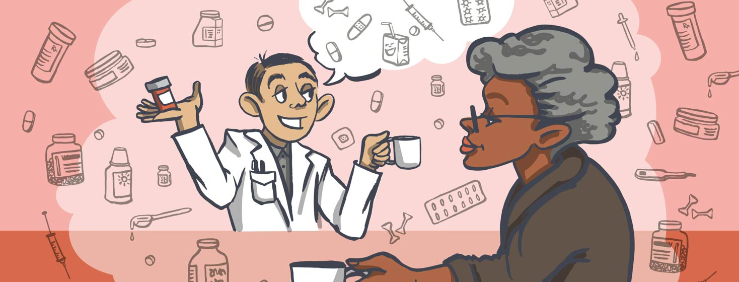 a pharmacist and a heart failure patient having tea and talking about medications