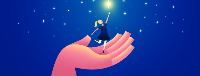 a large hand holds a small woman who is reaching for a star