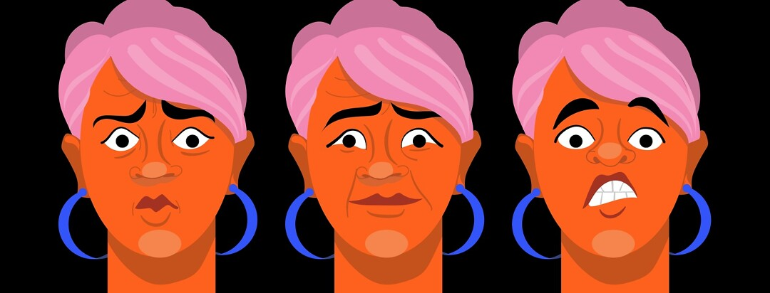 A woman displaying a range of emotions from shock disbelief and fear