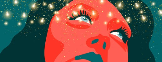 a woman tilts her head back and sees stars
