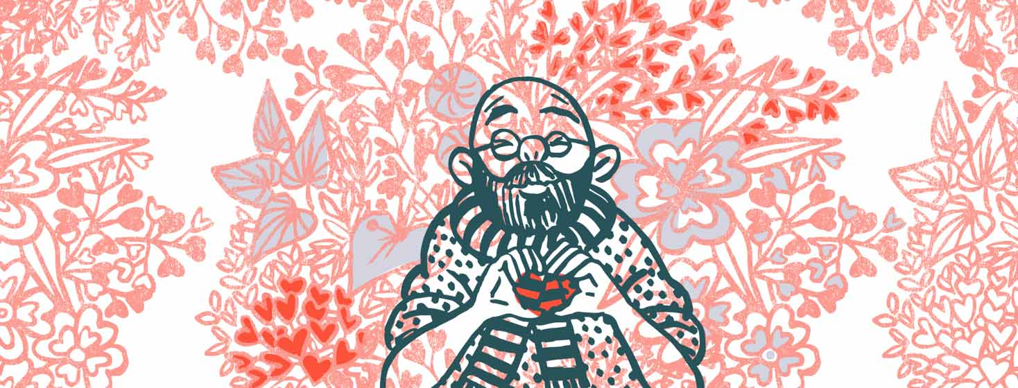 a man makes a heart with his two hands and is surrounded by heart shaped flowers and plants