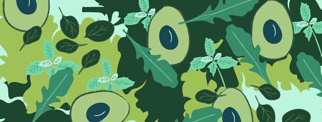 Avacados and plants. Basil, mint, kale, arugula