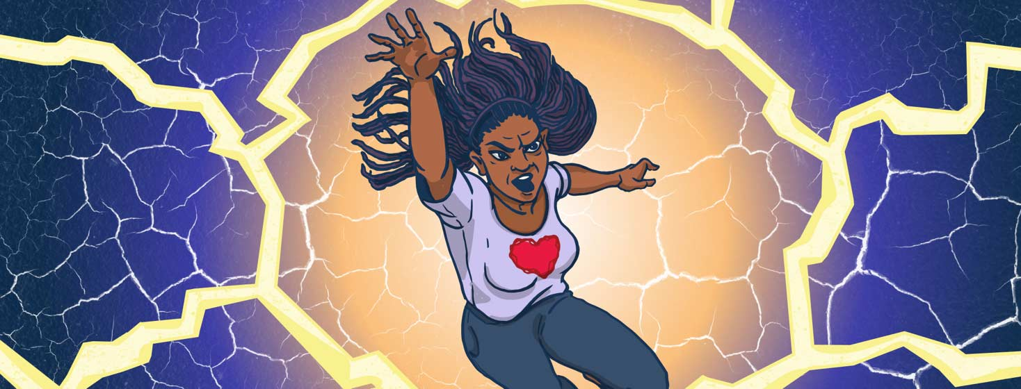 a woman in a heart tshirt leaps forward in a superhero pose, surrounded by shocks of electricity