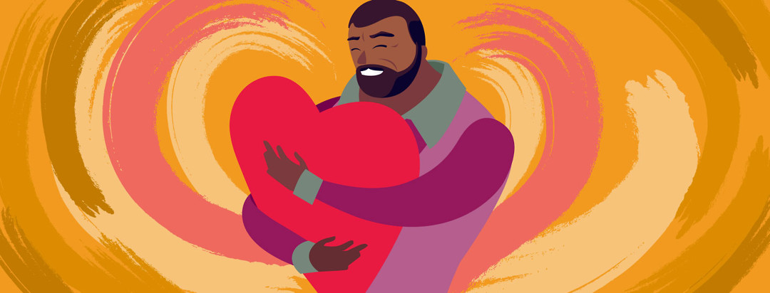 a man with heart failure hugging a giant heart