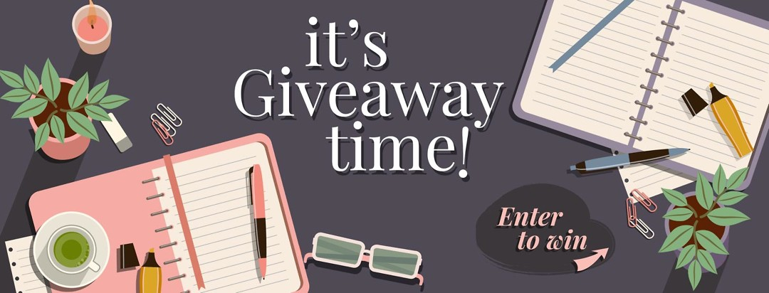 It's Giveaway Time! Images of journals and pens and plants with cups of tea and office supplies