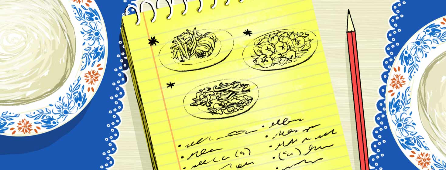 a notebook full of doodles of plates of food and notes on dietary restrictions for heart failure sitting on a dining room table