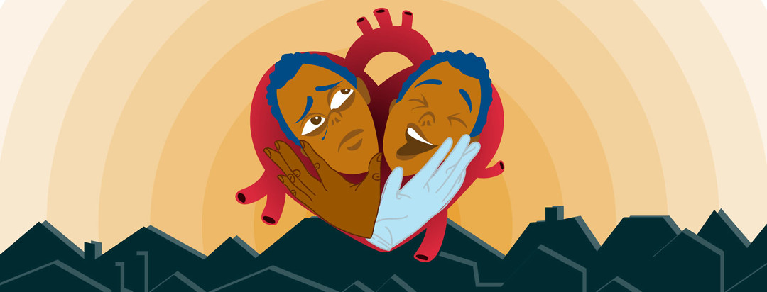 a heart shaped heart with two faces of the same person in it. One is crying and one is laughing. Two hands hold their faces: One has a the blue rubber glove of a surgeon on it.
