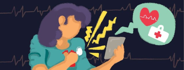 Woman holds heart and ICD while making a call