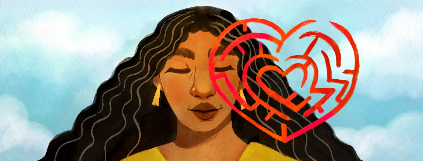 Adult female looks calm in front of blue sky. Overlapping part of her face is a maze in the shape of a heart. Recovery, heart transplant. Black, POC