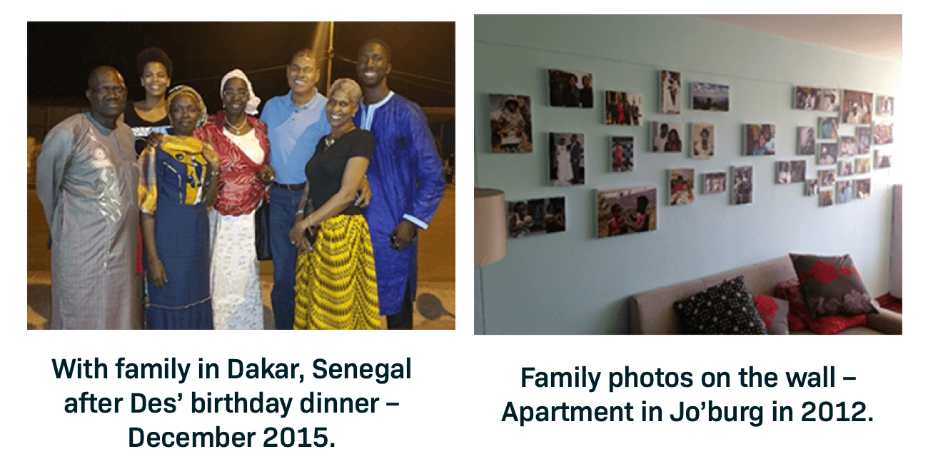 ;Heart Failure advocate Bouba Diemé with his familyHeart Failure advocate Bouba Diemé's family photo wall