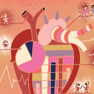 an anatomical heart filled with graphs and charts, the arrows serving as platforms for many different women to point out details, infographic, statistics, heart disease, education, facts, learning, sharing, pointing, Female POC Adult