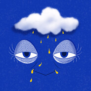 Baggy, tired eyes on a blue background. Above them is a rain cloud.