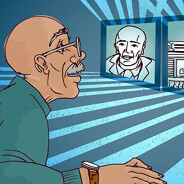 a man connects virtually with his doctor, websites, and his friends for information, distance, research, internet, digital Senior older male POC,HCP, female, caucasian