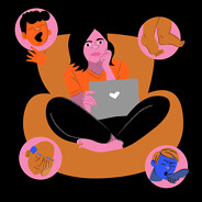 a woman sits with a laptop trying to remember her first symptoms. Thought bubbles around her show edema, fatigue, shortness of breath and coughing. Cankles Male Female NB POC latinx black, african american caucasian adult