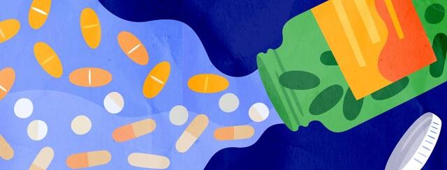 Open bottle of pills, pills creating a brighter path,