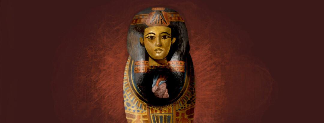 Egyptian sarcophagus with an anatomical heart, heart problems, heart failure, history, Egypt.