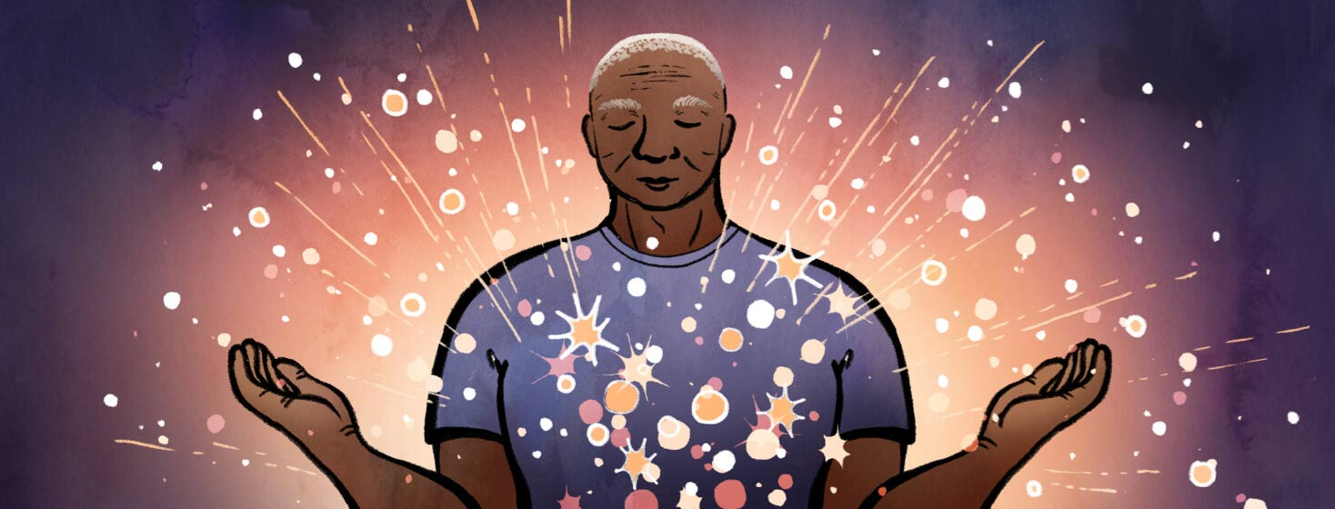 As a man meditates, bright stars emerge from his body in an outpouring of relaxation. Adult male senior POC, mindfulness,