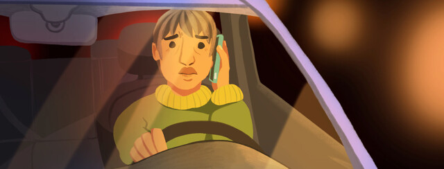 Adult female driving car while speaking on the phone receiving bad news. Hospital call. POC, Latinx