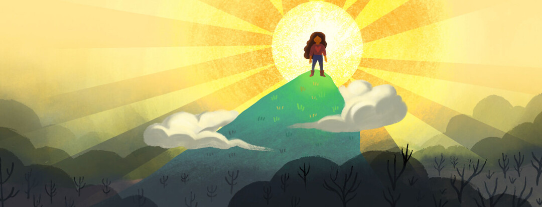 Adult female triumphantly stands on the top of a mountain with the bright sun shining on her. At the bottom of the mountain is a valley of dark fog and dead trees. Victory, survivor.